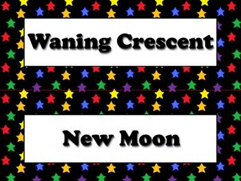 Phases of the Moon Vocabulary Strips - Superstars Theme