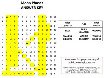 Phases of the Moon Word Search w/ answer key