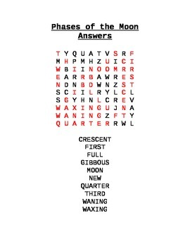 Phases of the moon crossword puzzle