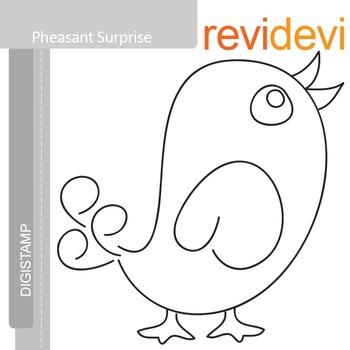Pheasant surprise (digital stamp, coloring image) S005, bird