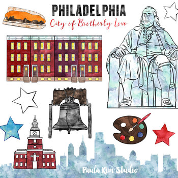 Philadelphia - American Cities Watercolor Clipart