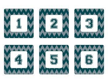 Philadelphia Eagles Inspired Green and Silver Chevron Calendar Pieces-Editable