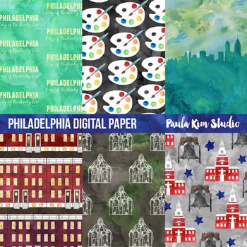 Philadelphia Watercolor Digital Paper