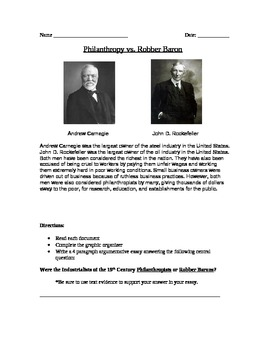 Industrial Revolution: Philanthropy vs. Robber Baron Docs and Essay