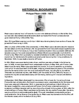 Philippe Pétain  Biography Article and (3) Assignments