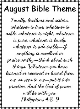 Philippians 4:8-9 Monthly Themes
