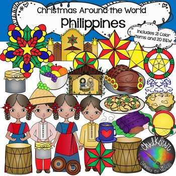 Philippines Clip Art- Christmas Around the World- Chalkstar Graphics