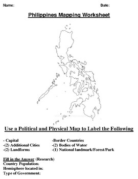 Philippines  Mapping Worksheet w/ Middle East Word Search