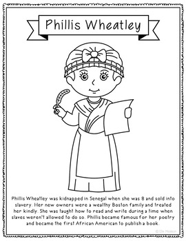 Phillis Wheatley Biography Coloring Page Craft or Poster, African American