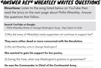 Phillis Wheatley Female Author Root Words, Prefixes, Suffixes Worksheets & Song