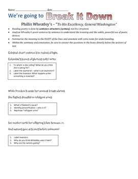 "Phillis Wheatley ""To His Excellency, General Washington"" Annotation Exercise"