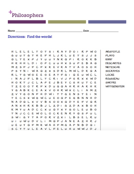 Philosophers Word Search