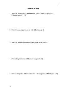 Philosophy Exam Grade 12 in Ontario HZT4U