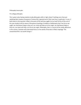 Philosophy lesson plan  Pre college philosophy