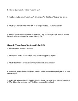 Phineas Gage Literacy questions