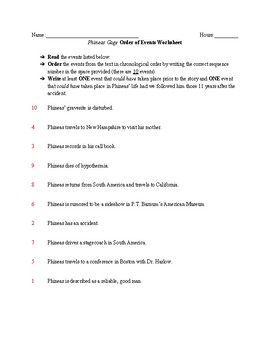 Phineas Gage- Order of Events Worksheet