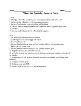Phineas Gage- Vocabulary Crossword Puzzle