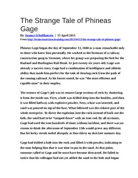 Phineas Gage article & reflection question