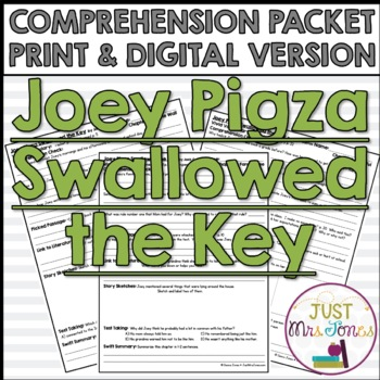 Joey Pigza Swallowed the Key Comprehension Packet