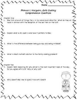 Phineas L. MacGuire Gets Cooking! Comprehension Questions