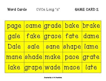 Phingo! CVCe Long Vowels (BINGO) Game PHONICS FREEBIE