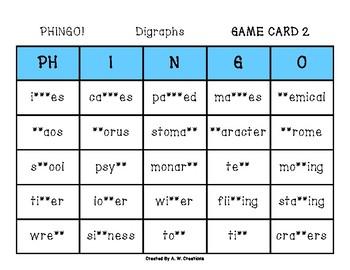 Phingo! Digraphs (BINGO) Game PHONICS