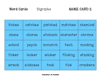 Phingo! Digraphs (BINGO) Game PHONICS FREEBIE