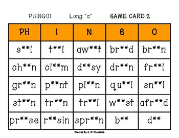 Phingo! Long Vowels (BINGO) Game PHONICS