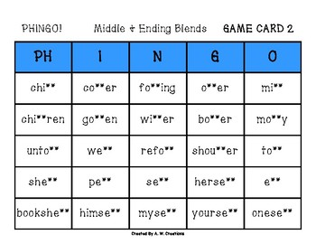 Phingo! Middle and Ending Blends (BINGO) Game PHONICS