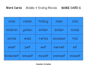Phingo! Middle and Ending Blends (BINGO) Game PHONICS FREEBIE