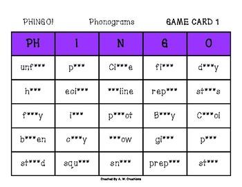 Phingo! Phonograms (BINGO) Game PHONICS