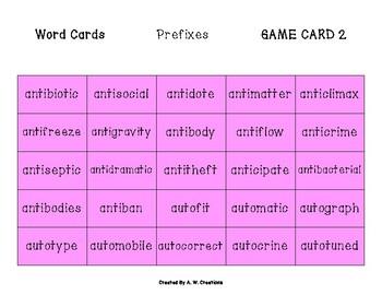 Phingo! Prefixes (BINGO) Game PHONICS