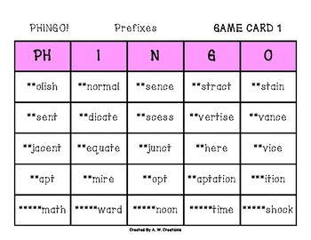 Phingo! Prefixes (BINGO) Game PHONICS FREEBIE