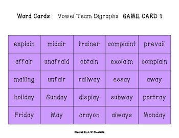 Phingo! Vowel Team Digraphs (BINGO) Game PHONICS