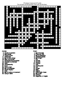 Phobias Crossword and Word Search with KEYs