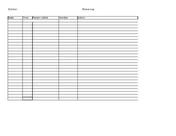 Phone Log Spreadsheet Parent Teacher Conferences