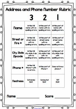 Phone Number & Address Practice, Assessment, & Rubric Printable