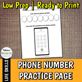 Phone Number Practice Activity Page