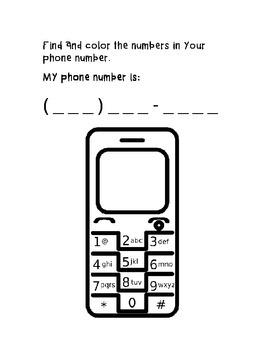 Phone Number Worksheet