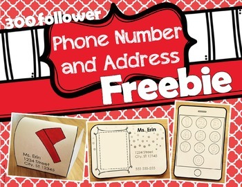 Phone Number and Address Practice Freebie - EDITABLE