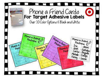 Phone a Friend Partner Cards for Target Adhesive Square Pocket Labels