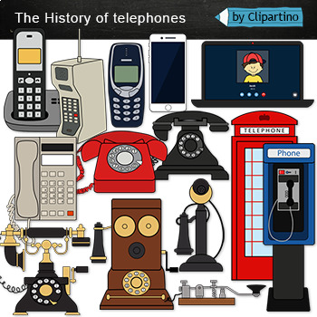 Phone Clip Art The History Of Telephones Clipart By Clipartino Tpt