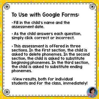 Phoneme Addition & Substitution: Phonemic Awareness Assessment for Google Forms™
