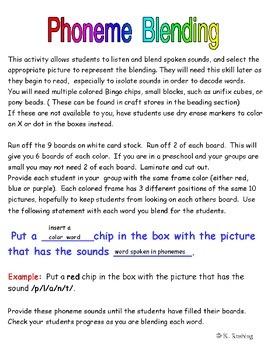 Phoneme Blending - Auditory Discrimination