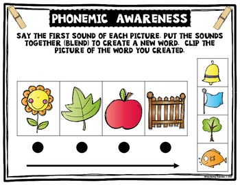 Phoneme Blending Clip It Cards