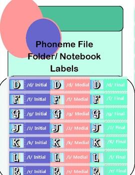 Phoneme File Folder Labels/ Notebook Tabs