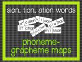 Phoneme-Grapheme Map: sion, tion, ation words