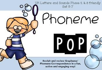 Phoneme POP- Phase 2 & 3 Set 5-7 UK Phonics Grapheme Phoneme Correspondence Game