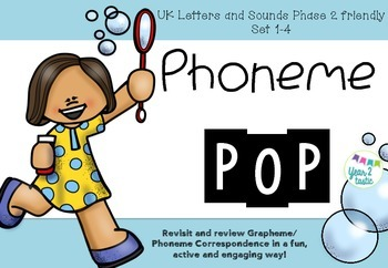 Phoneme POP- Phase 2 Set 1-4 UK Phonics Grapheme Phoneme Correspondence Game
