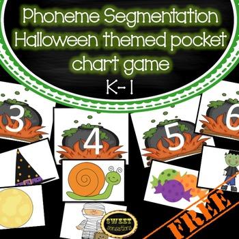 Phoneme Segmentation Halloween themed pocket chart game for K-1 (RFK.2D, RF1.2D)